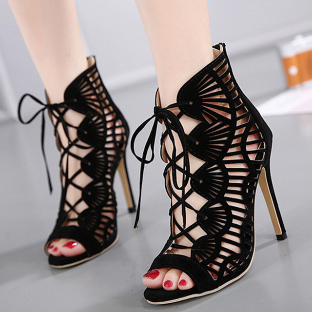 Women Cross Strsap Pumps High Heels Cut Outs Lace Up Open Toe Party Shoes Woman Gladiator Sandals Women Sexy Ladies