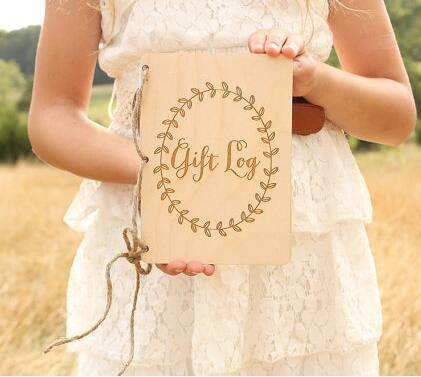 custom gift log book wedding his her rustic wood vow book set his