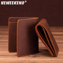 Wholesale Crazy Horse Leather Hand-made Mens Purses Retro Top Layer Dollar Money Clip SF