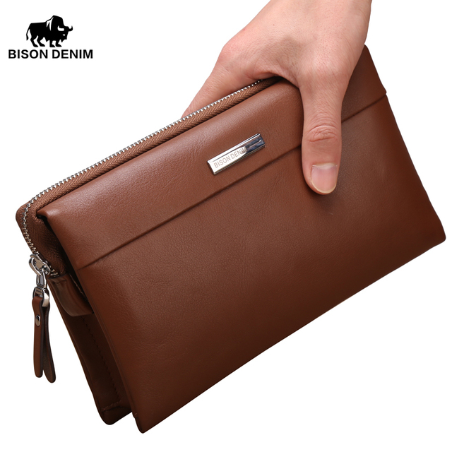 БИЗОН DENIM 2016 Новый натуральная кожа бумажник для мужчин бренд сумки большой емкости деловые мужчины сцепления сумки мешок вечера N8009-2B