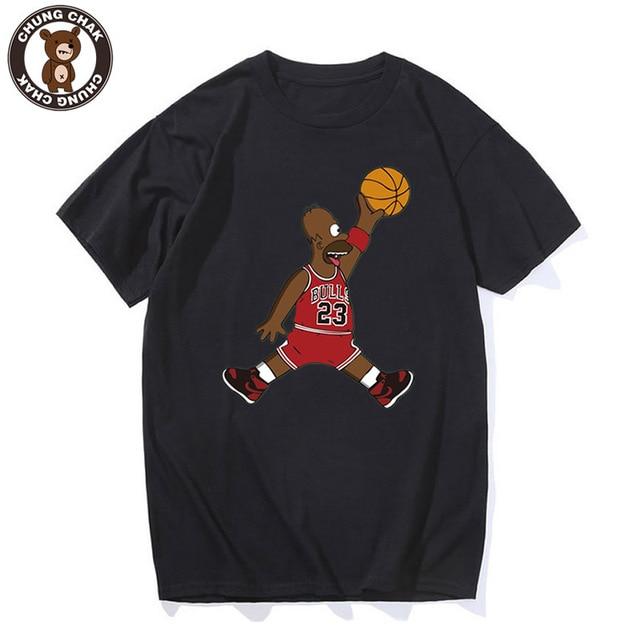33542aead99 Jordan Basketball Simpson Funny Men T shirt 100% Cotton Men's Tee Tops  O-Neck High Quality Short Sleeve Bulls Hipster T-shirt