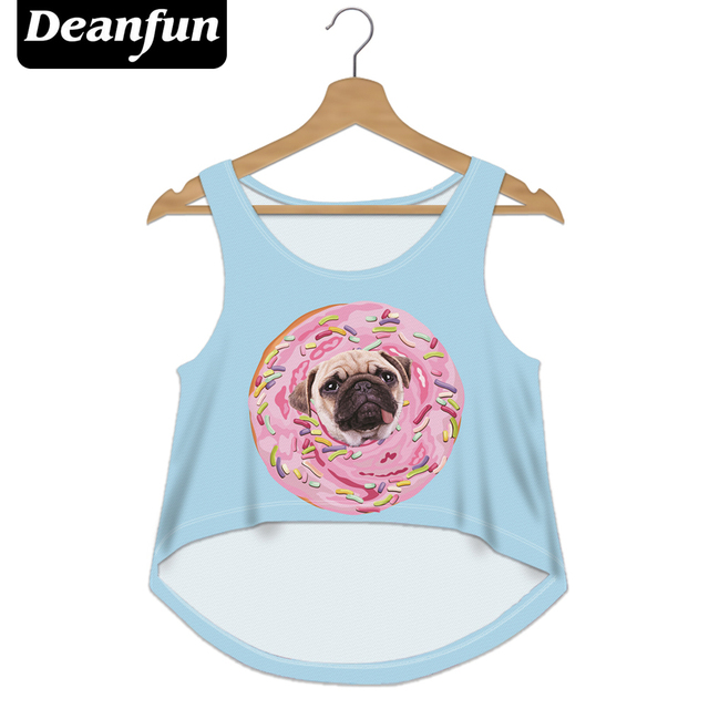 c6d96bc33e06c Deanfun Pug Crop Tops 3D Printed Donuts Women Vest Summer Fitness Plus Size  2017 New Style Party Funny 50838
