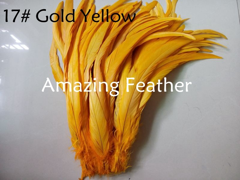 200pcs/lot 12-14inch Rooster Feathers Gold Yellow Feathers For Crafts Decoration Christmas Home Sale New Year Wedding Cosplay