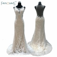 Real Pictures Sheer Appliques Scoop Neck Lace Wedding Dress Sheath Champagne Open Back 2017 Wedding Dresses Custom made