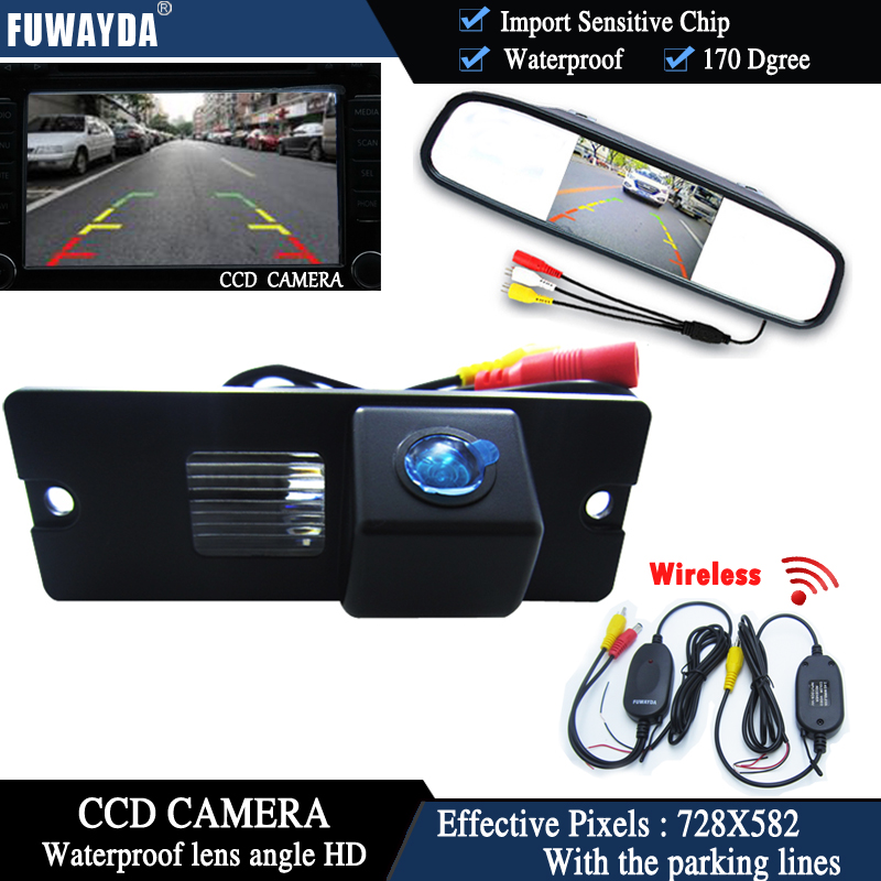 FUWAYDA Wireless Color CCD Chip Car Rear View Camera for Mitsubishi Pajero V3 V6 V8 Zinger + 4.3 Inch rearview Mirror Monitor HD black plastic shell car reserve camera auto wire 5 car rear camera adapt for mitsubishi pajero zinger l200 v3 v93 v5 v6 v8 v97