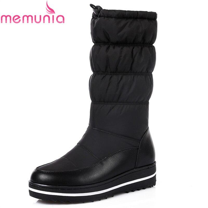MEMUNIA mode neu kommen frauen stiefel schwarz weiß blau schnee stiefel keile plattform reißverschluss Unten Wasserdicht mittlere waden stiefel in