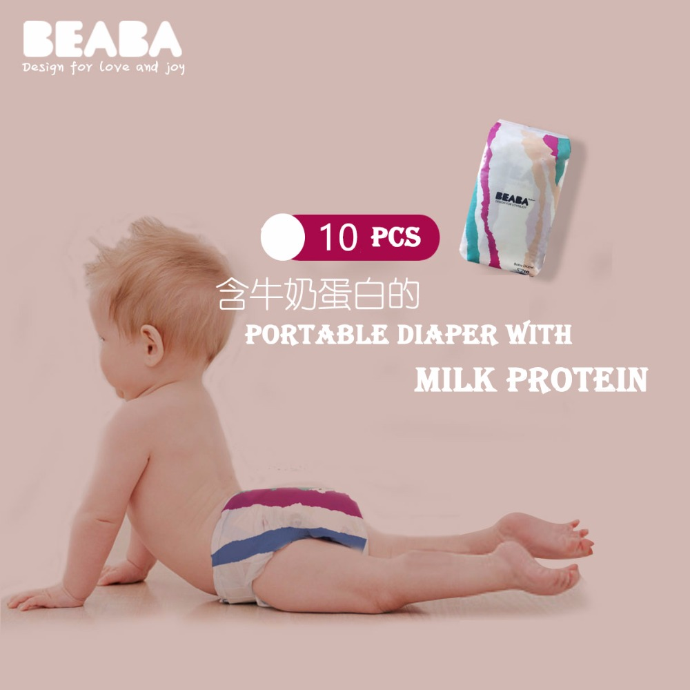 Beaba Baby Colorful Lovely Breathable Disposable Throwaway Diapers 10 PCS Infant Diaper Size NB/S/M/Ldiaper for New Born Kids ...