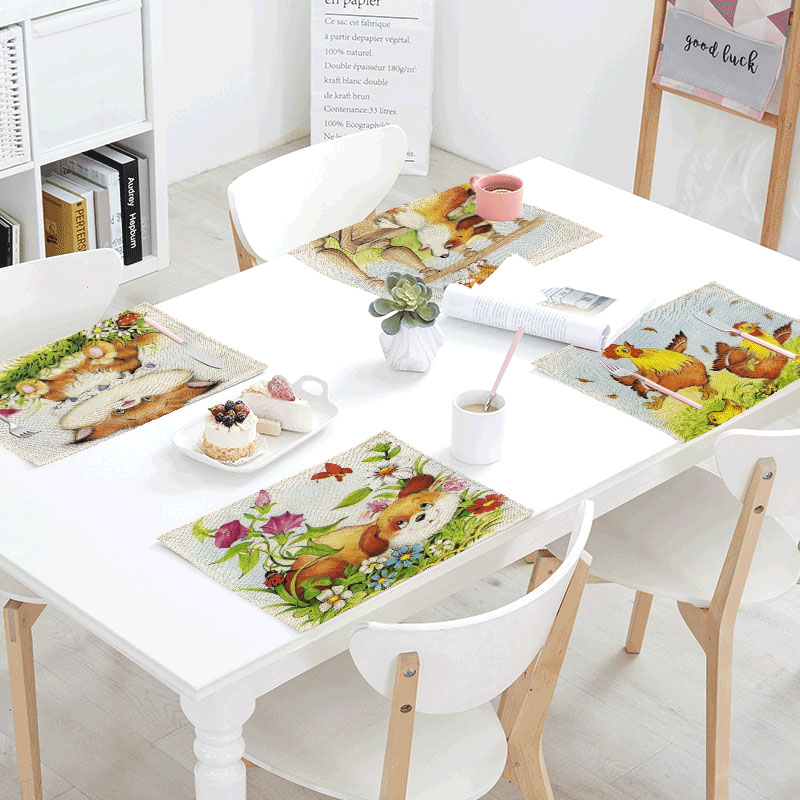 Cartoon Dogs Printed Table Linens Napkins Butterfly Frolics Servilletas Tea Place Mats Dinnering Design Party Decor Polyester