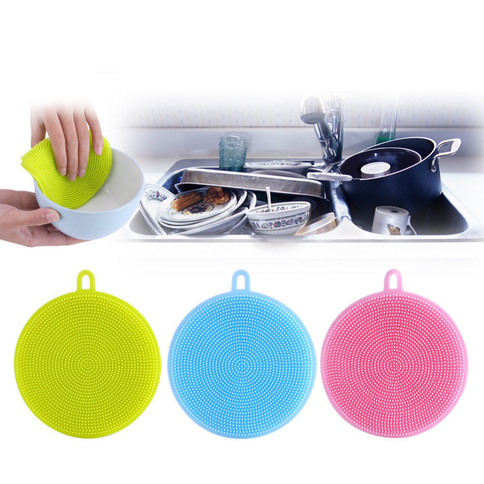 Silicone Dish Washing Brush Sponge Scrubber Pot Pan Kitchen Cleaning Pad Tool UK