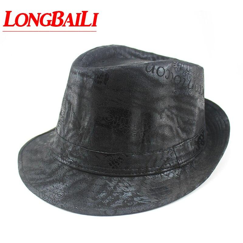 62902088144b8 Fashion Plain Black Faux Men Leather Fedora Hats Chapeu Unisex Jazz Trilby  Hats Free Shipping MEDB029