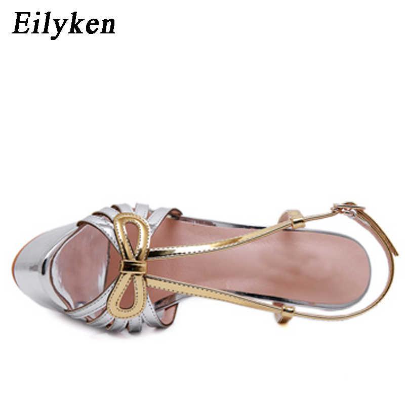 Eilyken Yaz Seksi Peep-toe Parti Elbise Platformu Gladyatör Ayakkabı 16 CM Yüksek Topuklu Sandalet Altın Gümüş Platform ayakkabılar
