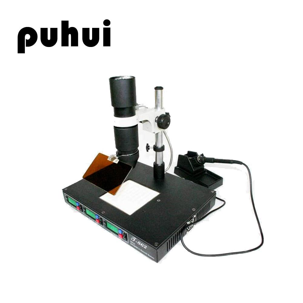 PUHUI T 862 Infrared SMD Soldering Rework Station Soldering Welder Mobile Phone Motherboard Desoldering Station Maintenance