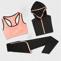 2017 Sport Suit Women Yoga Set 3Pcs Sleeveless Jacket Bra Pants Letter Printing Leisure Trousers Fitness Support Wholesale Hot 1