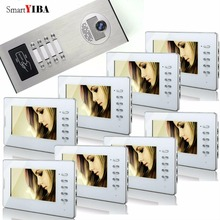SmartYIBA 8 Unit Apartment Video Door Phone Kit With 7inch Color Monitor Rainproof IR Camera With RFID Keyfobs