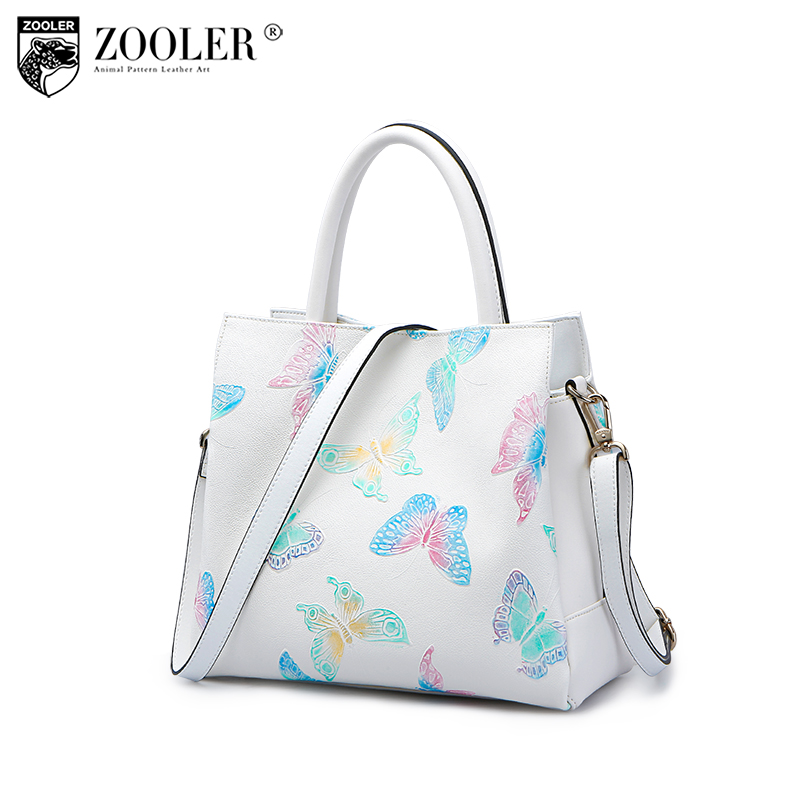 ZOOLER 2017 New Arrival Genuine Leather Bags Woman Handbags Top-Quality butterfly pattern bags Shoulder Bags Large Capacity 2960 zooler 2017 new arrival genuine leather handbags woman design top quality crossbody bag luxury brand red ladies bags hs 3211