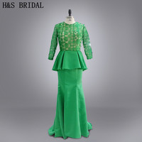 Real Picture Green color lace long sleeves Mermaid mother of the bridal dresses