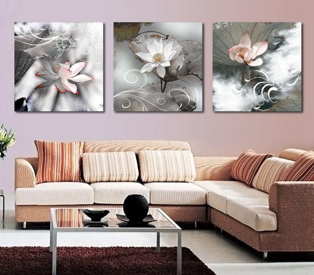 3 Stks/set Gedrukt aquarel Zwart wit Blossom Canvas schilderij ...