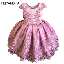 Pink Girls Flower Dresses For Party vestido daminha Pearls Sash Bow Cap Sleeves Flower Girl Dress Lace First Communion Dresslx