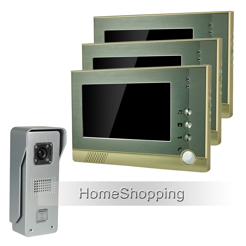 FREE SHIPPING Wired 7 inch TFT Screen Video Door phone Intercom System With 1 Metal Waterproof Door Camera + 3 Monitors IN STOCK free shipping touch key wired 7 inch color screen video intercom door phone system 3 monitors 1 outdoor bell camera in stock