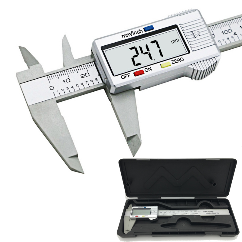 6inch LCD 150mm Digital Calipers Electronic Carbon Fiber Vernier Caliper Gauge Micrometer Model Digital Calipers tool with a box