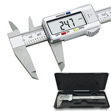 Big discount 6inch LCD 150mm Digital Calipers Electronic Carbon Fiber Vernier Caliper Gauge Micrometer Model Digital Calipers tool with a box