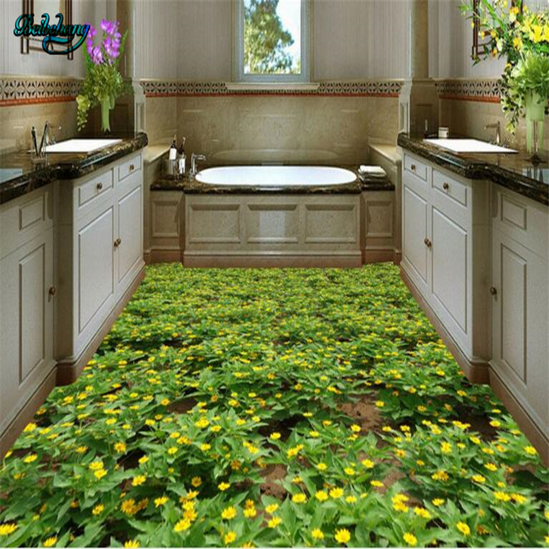Beibehang Pastoral Color Green Garden Family Bathroom 3D Stereo Floor Tiles Custom Living Room Wallpaper
