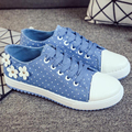 2017 Autumn New Style Women Fashion Casual Lace Up Denim Canvas Students Breathable Jogging Flat Board Vogue Shoes Plimsoll G063