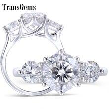 TransGems 14 K białe złoto 3.5CTW centrum 2.5ct 8.5mm i boczne 0.5ct 5mm F kolor Moissanite 3 kamień pierścionek zaręczynowy trylogii pierścień