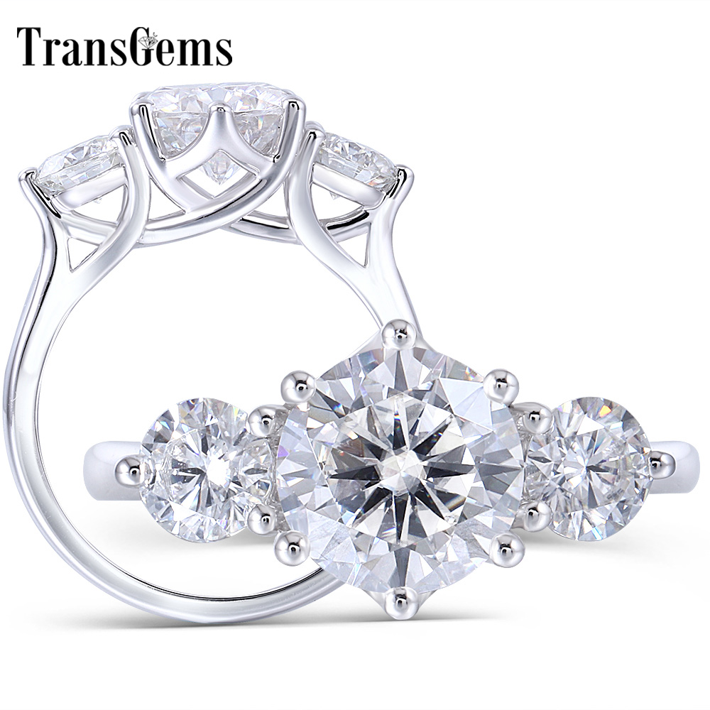 TransGems 14K White Gold 3.5CTW Center 2.5ct 8.5mm and Side 0.5ct 5mm F Color Moissanite 3 Stone Engagement Ring Trilogy Ring-in Rings from Jewelry & Accessories