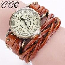 CCQ Model Classic Retro Rivet Braided Lengthy Leather-based Bracelet Watch Girls Informal Quartz Watch Girls Clock Relogio Feminino 1513