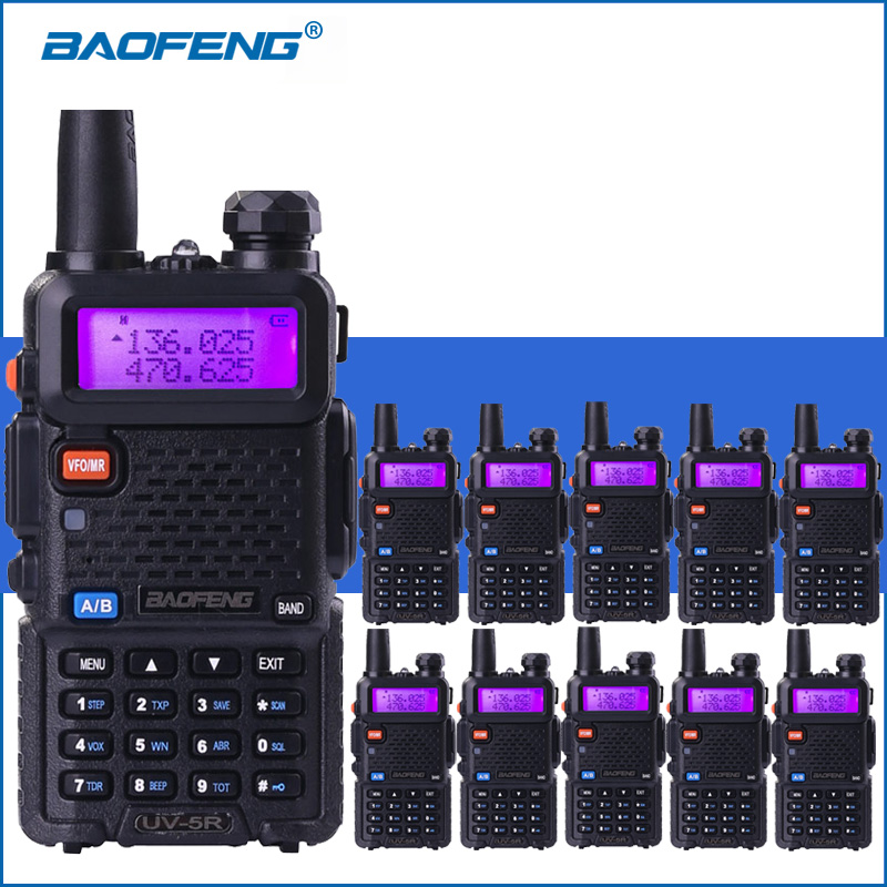 10pcs/lot Baofeng UV-5R VHF UHF Walkie Talkie UV5R Handheld Two Way Ham Radio UV 5R Portable Walkie Talkies Radio Transceiver