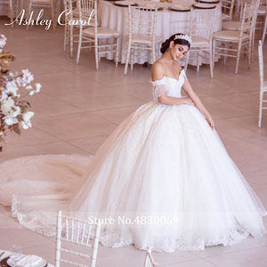 Image 2 - Ashley Carol Sexy Sweetheart Royal Train Ball Gown Wedding Dress 2020 Luxury Beaded Cap Sleeve Lace Up Princess Robe De Mariee