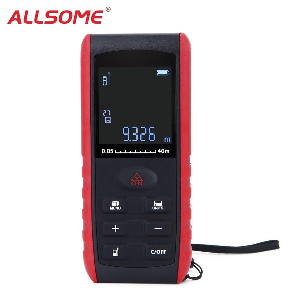 ALLSOME Laser Rangefinder 40m 60m 80m 100m Digital Laser Distance Meter Laser Range Finder Tape Distance Measurer HT1291 1294