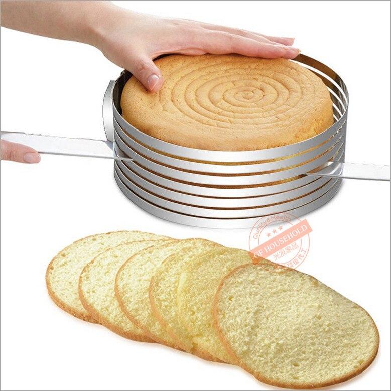 15-30cm Rustfrit stål Justerbar lagkage Skiver Kit Mousse Skiver Skiver Kage Indstilling Ring DIY Bakeware Værktøj Boligindretning