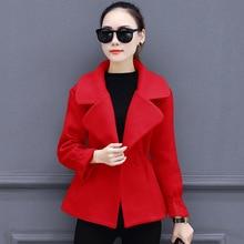 2019 Winter Short Woolen Coat Female Jacket for Women Coffee Red High Quality Wool Elegant Slim Warm Overcoat