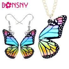 Bonsny Acrylic Colorful Butterfly Earrings Necklace Collar Pendant New Fashion Jewelry Sets For Women Girls Teens Gift Wholesale(China)