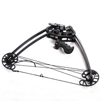 50LBS Archery Compound Bow 27inch Black Youth Target Shoot Compound Bow for Right and Left Hand