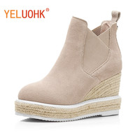 Natural Suede Ankle Boots For Women Wedges Spring Autumn Boots Women High Quality High Heel Women