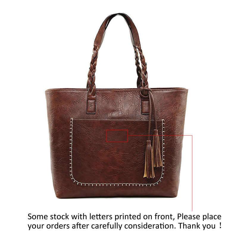 Bolsa de couro marrom das mulheres do vintage bolsa de ombro senhoras retro tote grande bolsas do plutônio bolso 2019 moda grandes sacos pretos xa540d