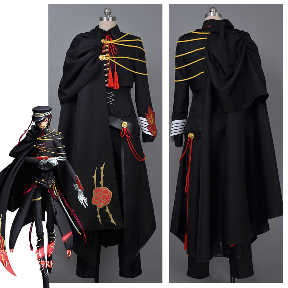 Code Geass Lelouch Cosplay Code Geass Lelouch of the Rebellion Code Black in Ashford Cosplay Costume Outfit slave rebellion in brazil