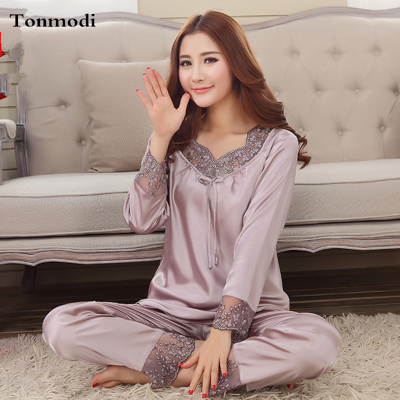 342ed4afb2 2016 New Elegant luxury Silk Pajamas For Women Solid Embroidery ...