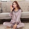 2016 Nuevo lujo Elegante Bordado pijamas Pijamas de Seda Para Las Mujeres Sólidos Conjuntos Salón Pijama Pijama De Satén De Seda de las mujeres Feminino