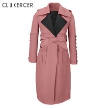 2019 New Spring Autumn Suede Trench Coat Women Long Elegant Outwear Female Overcoat Slim Pink Cardigan