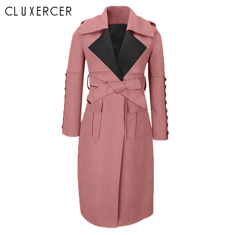 2019 New Spring Autumn Suede   Trench   Coat Women Long Elegant Outwear Female Overcoat Slim Pink Suede Cardigan   Trench