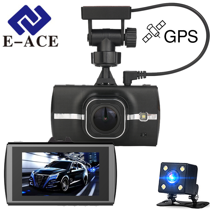 E-ACE Car Dvr GPS Tracker Full HD 1080P Dual Camara Lens Video Recorder ADAS LDWS Night Vision 170 Degree WDR Dashcam Registrar