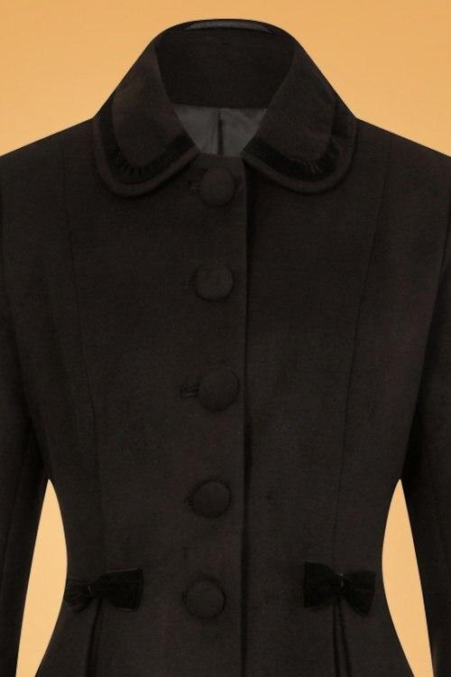 a66ce7ddb744 La up S Garniture Veste De Noir Vintage Détail Femme Velours En hiver 50  Black Swing Manteau ...