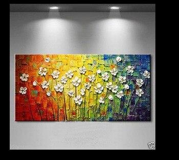 Messer Malerei Blumen 100% Handgemalte Moderne Leinwand Wandkunst Blumen  Ölgemälde Auf Leinwand Home Decor Bilder Für Schlafzimmer