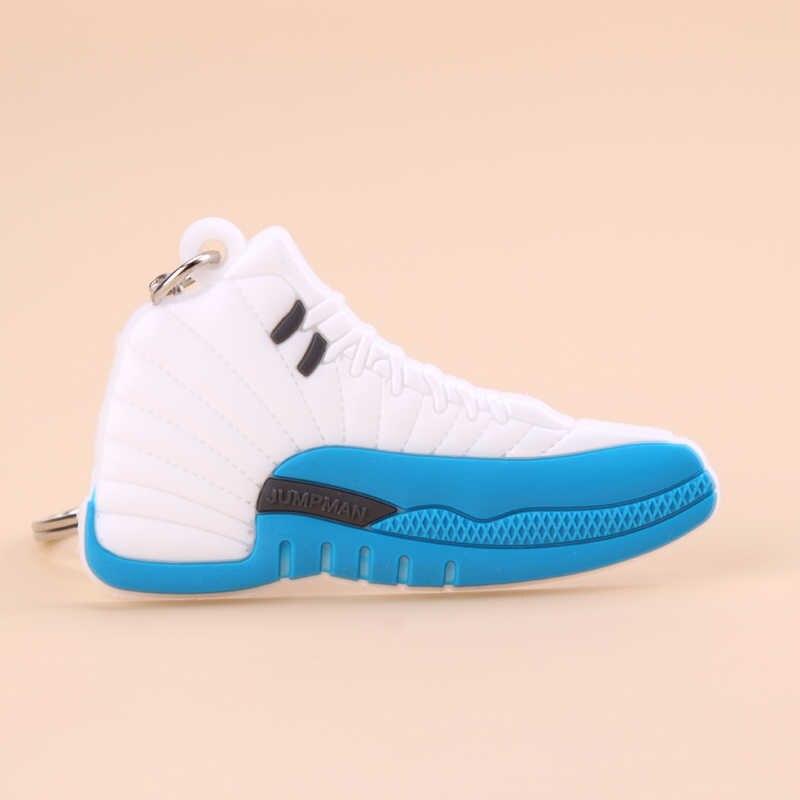 Móc khóa Mới Kỳ Lạ Mini Jordan 12 Retro Giày Móc Chìa Khóa Nam Nữ Trẻ Em Tặng Móc Khóa Bóng Rổ Giày Sneaker Chìa khóa porte Clef