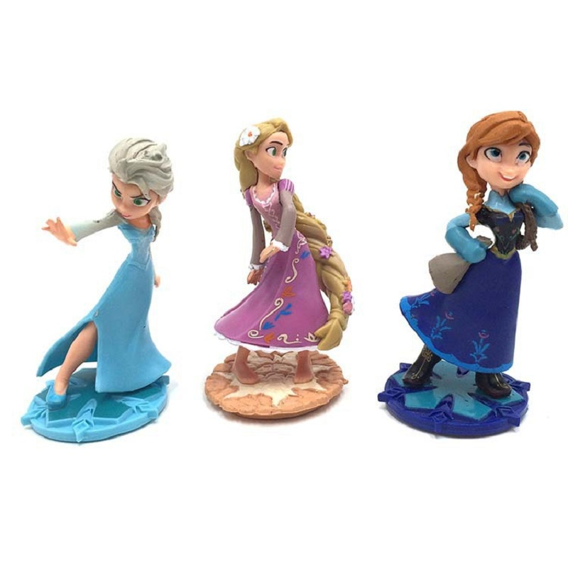 Disney popular toys Frozen 2 elsa Anna Princess Cake Styling Accessories Doll Hand Micro Landscape Decoration birthday gift 9cm