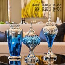 European Luxury Blue Glass Vase Ornament Home Decor Crafts Ceramic Flower Pot